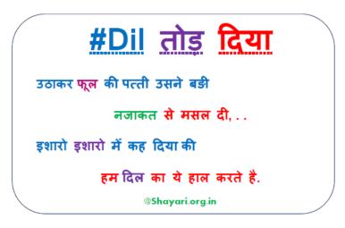 Dil Tod Diya Sad Hindi Shayari 2020